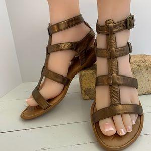 Woman's  7 Born Sandals Gladiator Metallic Leather